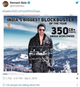 Saaho Box Office Collection 2019: Day 5 collection covered Rs. 350 Crores 1