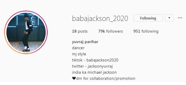 Baba Jackson 2020 Tik Tok Star (Yuvraj Singh) Biography, Tik Tok Id, Instagram, Dance Videos 7