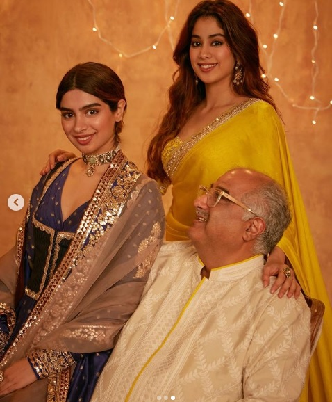 Khushi Kapoor with sister Jhanvi Kapoor and Father Boney Kapoor
