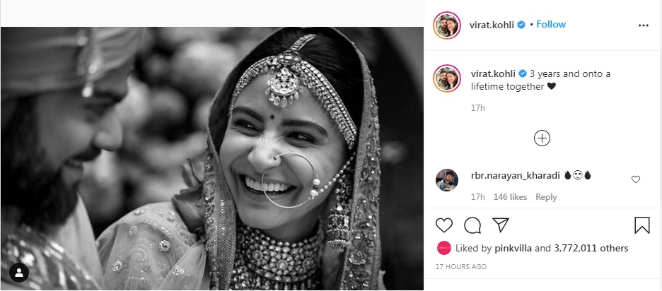 Virat Kohli wished 3rd wedding anniversary to wife Anushka Sharma
