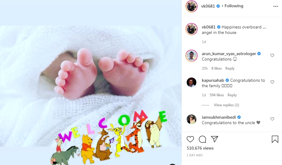 Vikas Kohli has not shared the first glimpse of Virat Kohli daughter on Instagram