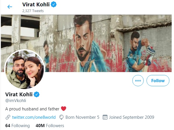 Virat Kohli changed his Twitter Bio
